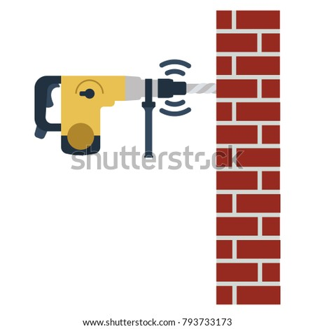 Icon of perforator drilling wall. Flat color design. Vector illustration.