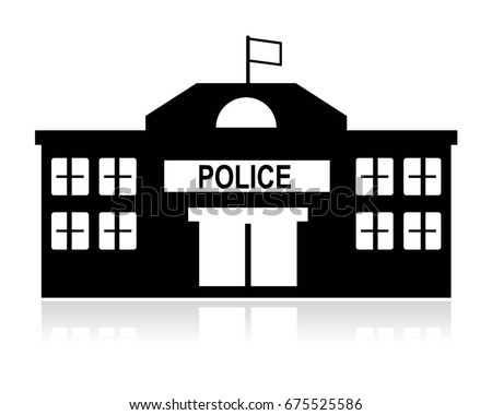 icon of police station building - black and white concept