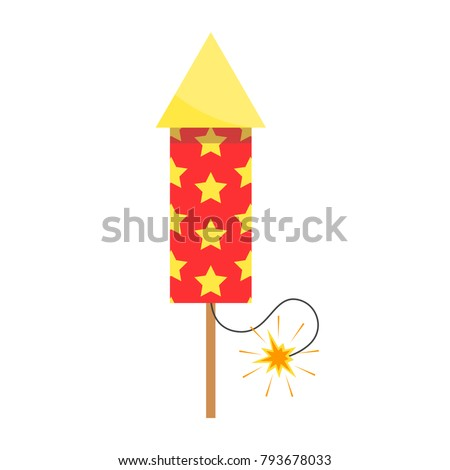 Icon of pyrotechnic equipment in the form of a rocket. Wedding fireworks, Christmas fireworks. Vector illustration in a flat style, cartoon design isolated on background.