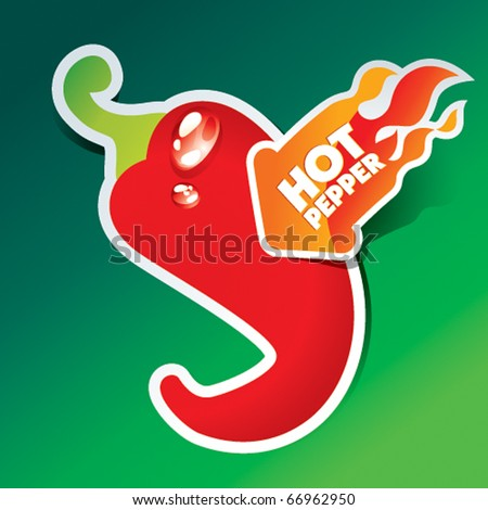 Icon of red hot chili pepper with flaming arrow. Vector illustration.