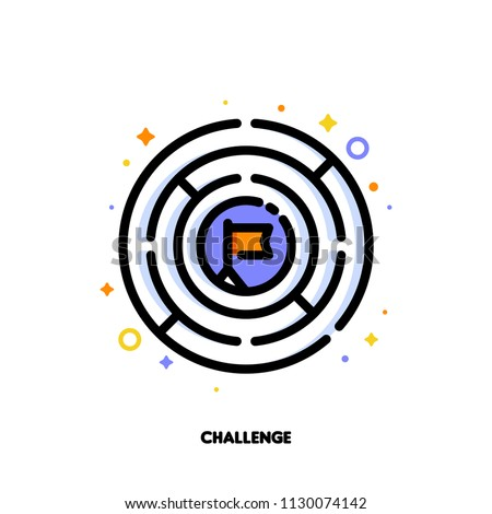 Icon of round labyrinth or maze for business challenge concept. Flat filled outline style. Pixel perfect 64x64. Editable stroke