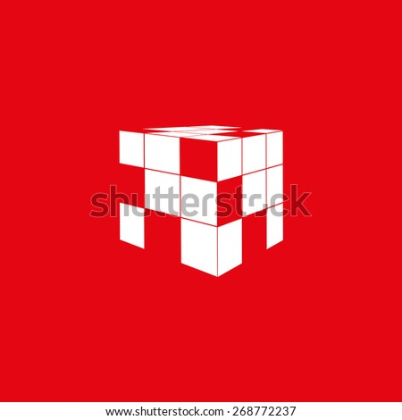 icon of rubik's cube isolated