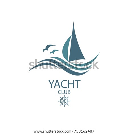 icon of sailing yacht and ocean waves with seagulls
