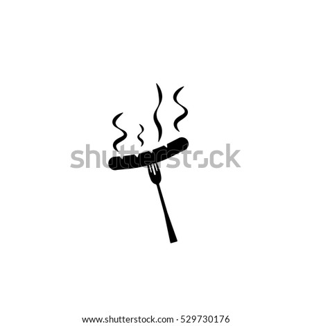Icon of sausage on a fork on white background. All elements sausage on a fork for web design and decoration of greeting cards.