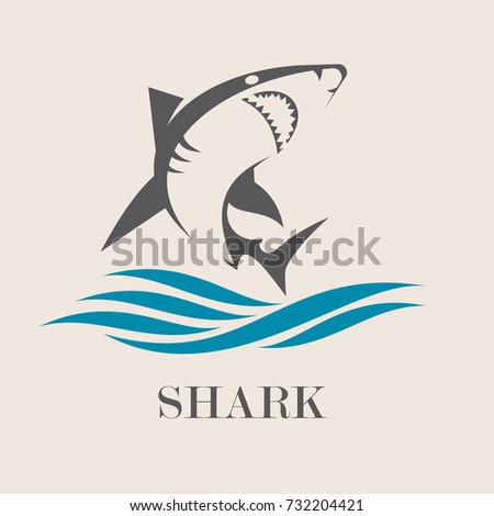 icon of  shark with sea waves