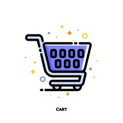 Icon of shopping cart for retail and consumerism concept. Flat filled outline style. Pixel perfect 64x64. Editable stroke
