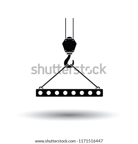 Icon of slab hanged on crane hook by rope slings . White background with shadow design. Vector illustration.
