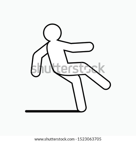 Icon of Slippery Area - Wet Floor Vector, Sign and Symbol Presented in Line Art Style for Design, Presentation, Website or Apps Elements.