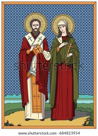 icon of st cyprian and justine