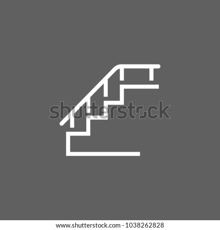 Icon of stairs with handrails. Step, staircase, stairway. Walking concept. Can be used for topics like house, transportation, walking, lifting.