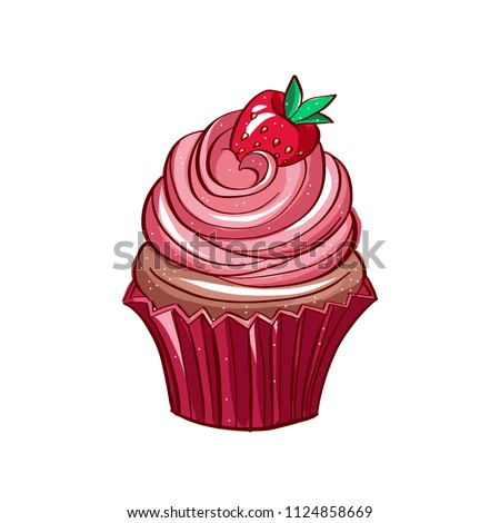 Icon of strawberry cupcake on white isolated background.Very high quality original trendy illustration of a strawberry chocolate capcake.