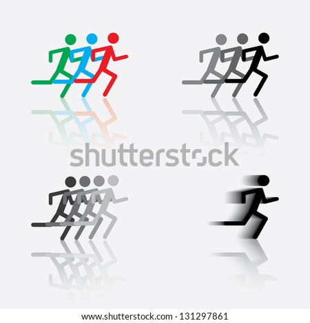 icon of the running man.For logo Vector eps10