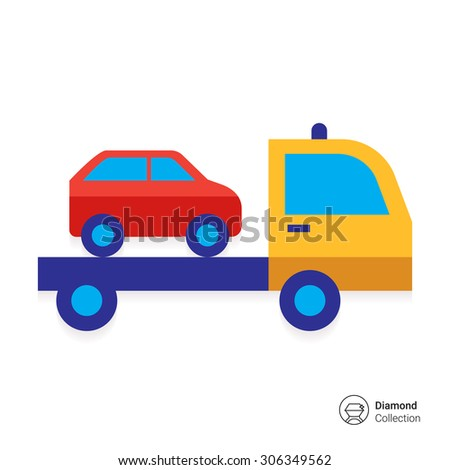 icon of tow truck with loaded