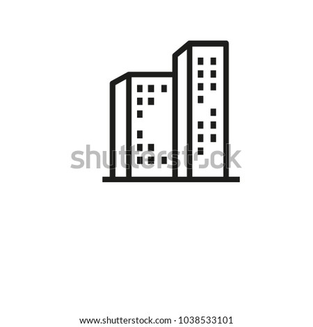 Icon of tower blocks. House, high-rise residential apartment, building. Architecture concept. Can be used for topics like real estate, city,  hotel