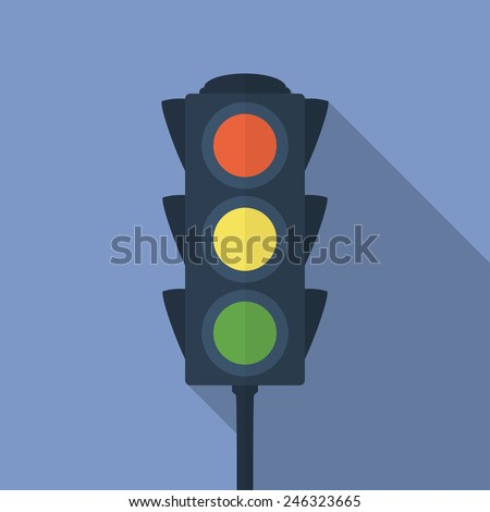 icon of traffic light flat