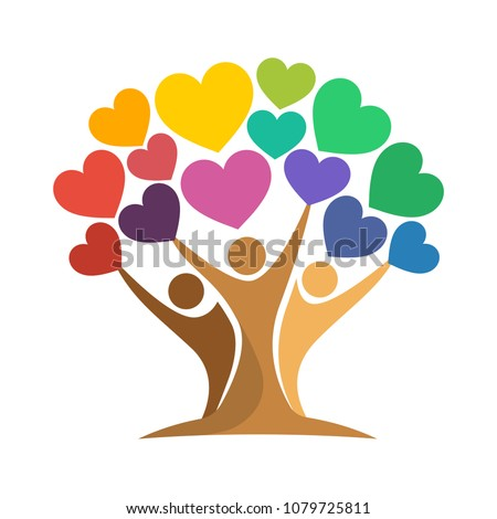 icon of tree illustration with the concept of unity of people reaching love (heart symbol)