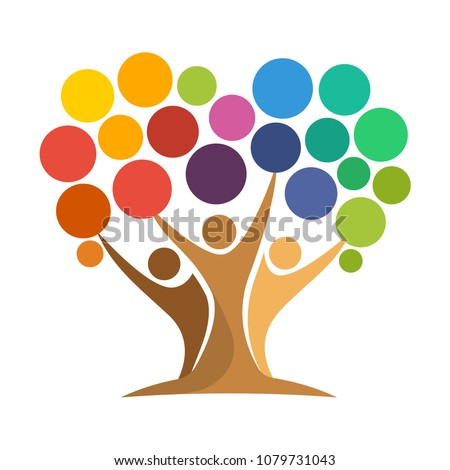 icon of tree illustration with the concept of unity of people reaching the colorful dot