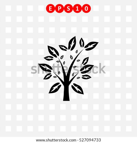 icon of tree with leaf on gray