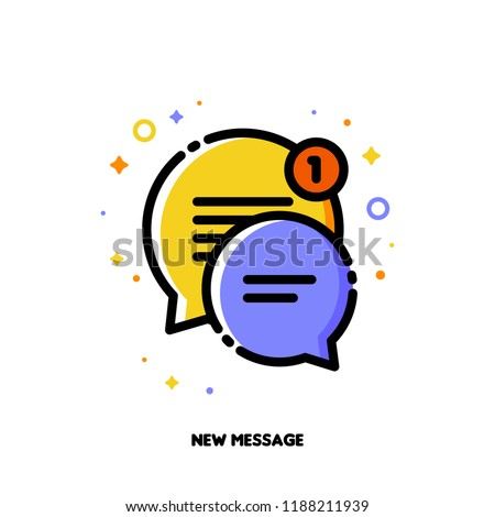 Icon of two cute speech bubbles for new message concept. Flat filled outline style. Pixel perfect 64x64. Editable stroke