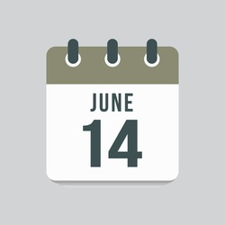 Icon page calendar day - 14 June. Date day of week Sunday, Monday, Tuesday, Wednesday, Thursday, Friday, Saturday. 14th days of the month, vector illustration flat style. Summer holidays in June