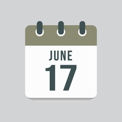 Icon page calendar day - 17 June. Date day of week Sunday, Monday, Tuesday, Wednesday, Thursday, Friday, Saturday. 17th days of the month, vector illustration flat style. Summer holidays in June
