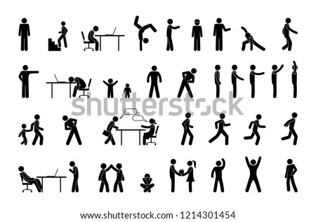 icon people in different situations, set of human figures, stick figure person  pictogram, man, woman and children