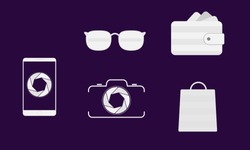 icon personal belongings mobile phone, Camera, Glasses, Shopping bags
