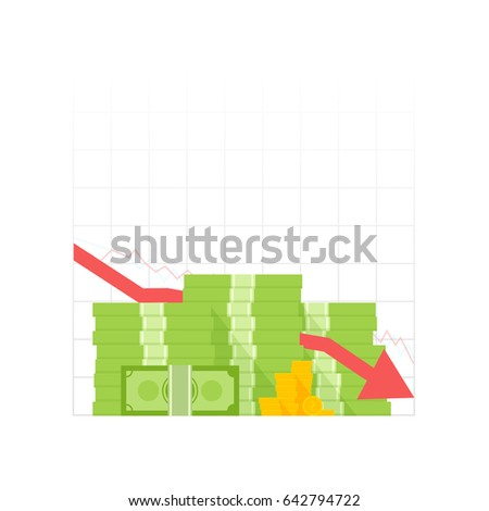 Icon pile of cash red recession graph with downward arrow. Green dollar and gold coins. Vector illustration.