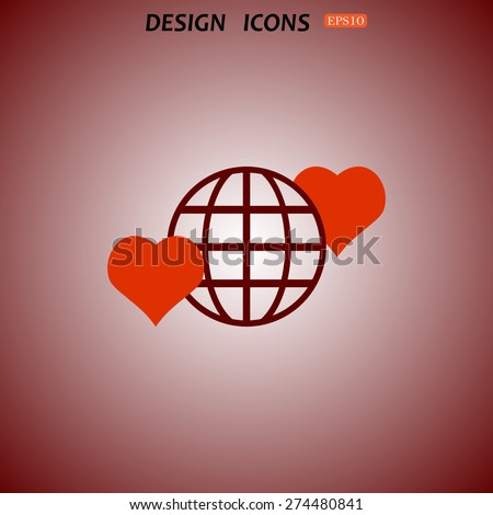 icon planet and two red hearts