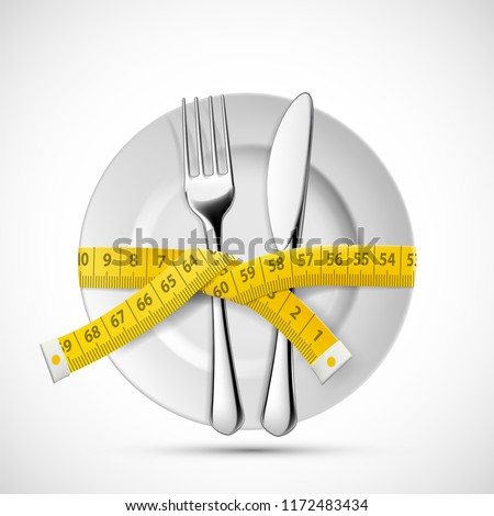Icon plate with knife, fork and tailoring measuring tape. Dieting and healthy lifestyle. Stock vector illustration.