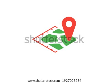 icon plot area in acres, square metres, kilometres, feet, yards, miles, hectare, are. Vector dimension area size icon and map pin Foto stock ©