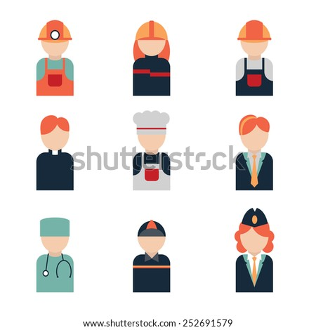 icon profession include: chef, doctor, builder, courier, miner, fireman, air hostess, pastor manager