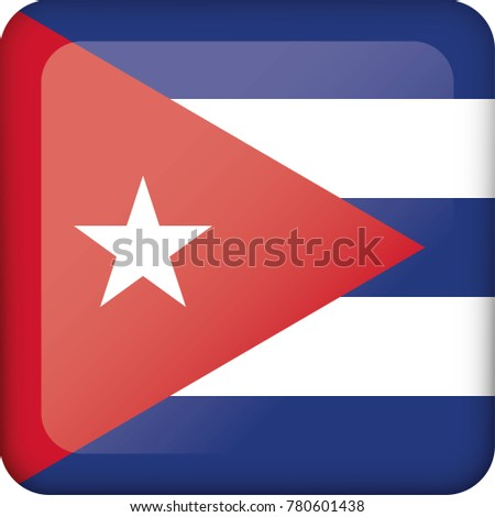 Icon representing Cuba square button flag. Ideal for catalogs of institutional materials and geography #780601438
