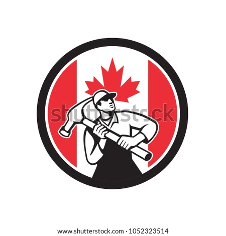 Icon retro style illustration of a Canadian handyman, carpenter, builder, joiner, construction worker holding a hammer with Canada maple leaf flag set inside circle on isolated background.