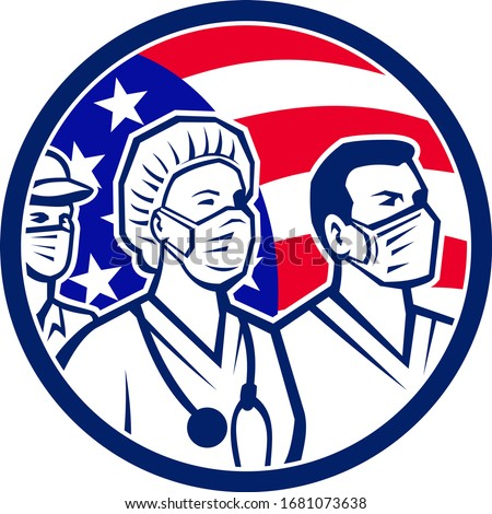 Icon retro style illustration of American healthcare provider, medical care worker, nurse or doctor as heroes wearing surgical mask with United States of America USA flag circle on white background.