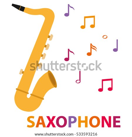 Icon saxophone, illustration a saxophone, musical instrument. Flat design, vector.