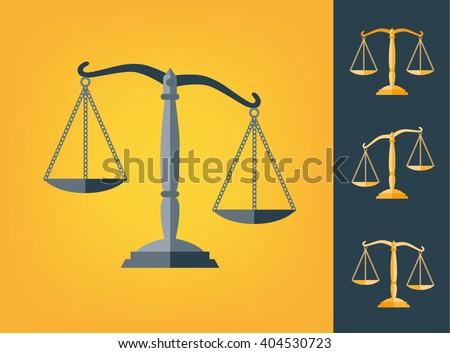 icon scale flat, balance symbol judgment, law