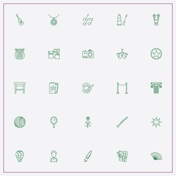 icon set about art with keywords sun, hand fan and photo camera
