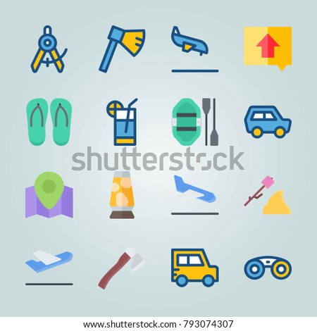 Icon set about Beach And Camping. with departure-arrival, departure plane and car