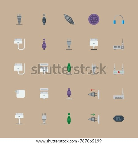 icon set about connectors cables with plug in, plug and router