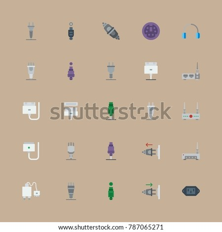 icon set about connectors cables with plug out, plug and plug in