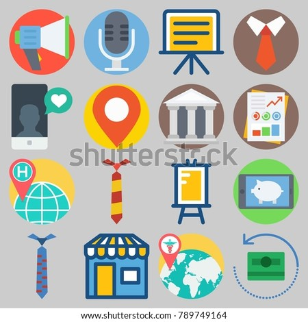 Icon set about Digital Marketing with keywords microphone, museum, money, stats, location and megaphone
