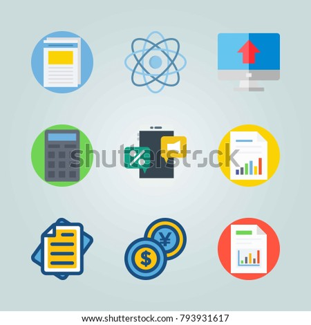Icon set about Marketing. with dollar-yen, file and circles