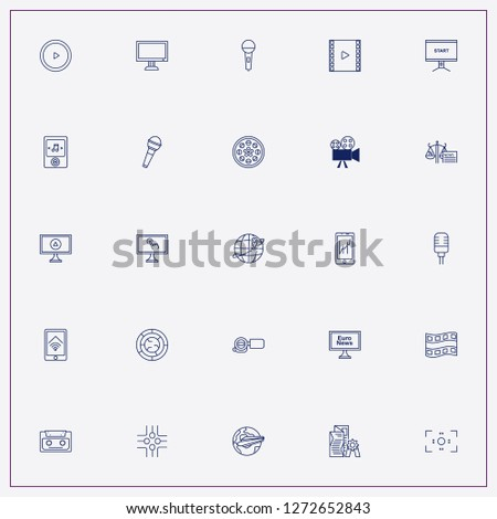 icon set about media with keywords microphone, newspaper award and criminal news #1272652843