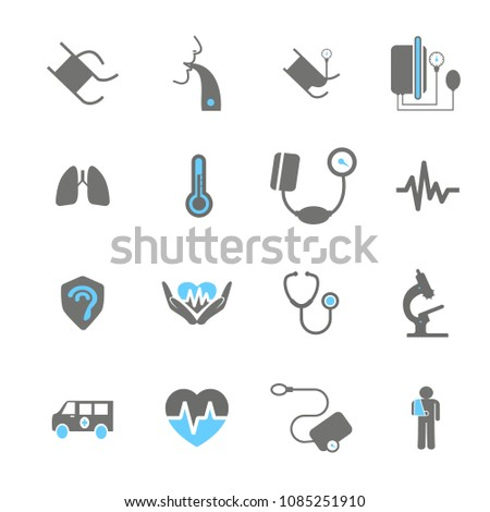 Icon Set about medicine. Set vector line icons, sign and symbols in flat design medicine and health with elements for mobile concepts and web apps. Collection modern infographic logo and pictogram.