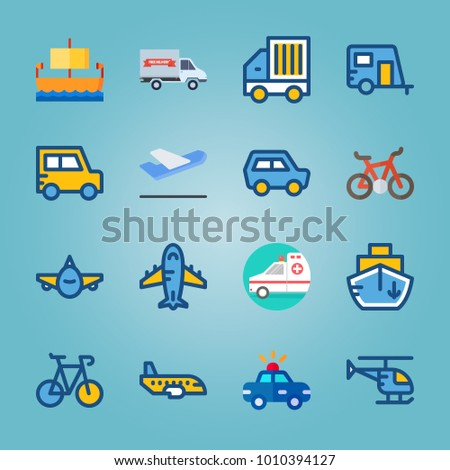 icon set about Transport with car, departure plane, departure-arrival, truck and ship