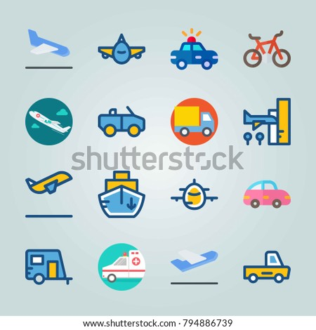 Icon set about Transport. with departure-arrival, cabriolet and departure plane