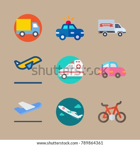icon set about transport with departure-arrival, medical airplane and departure