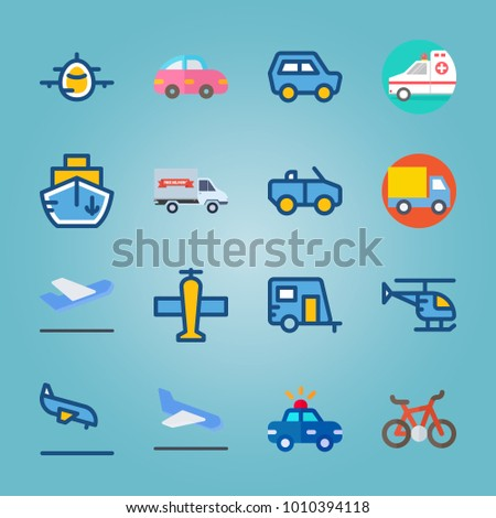 icon set about Transport with departure-arrival, truck, ship, departure plane and ambulance