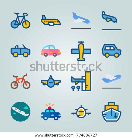 Icon set about Transport. with departure plane, jet and departure-arrival